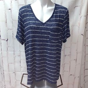 Maurices Stretch V Neck Tee Top Shirt Navy Stripe